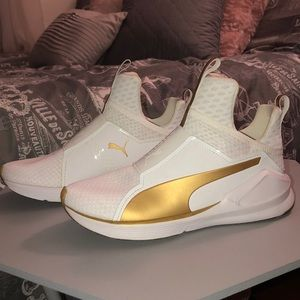 Closet Clear Out!! Puma White/Gold Sneakers!